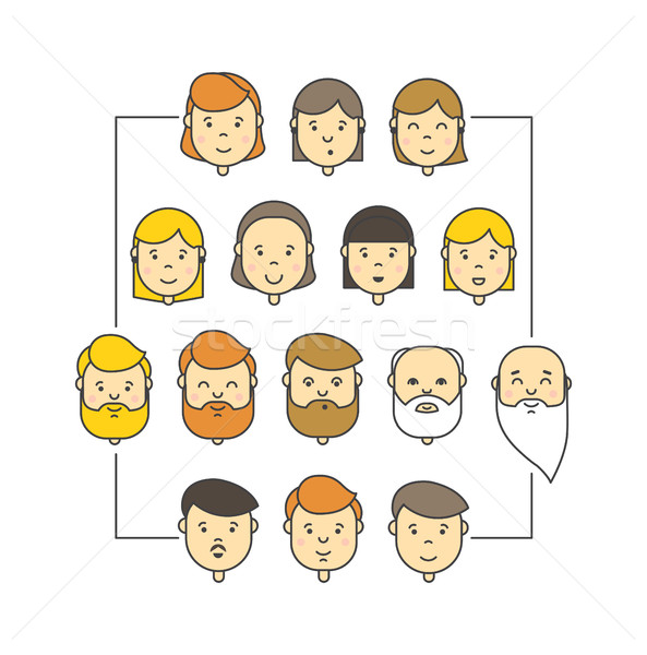 Colorful linear vector big icons collection of people Stock photo © softulka