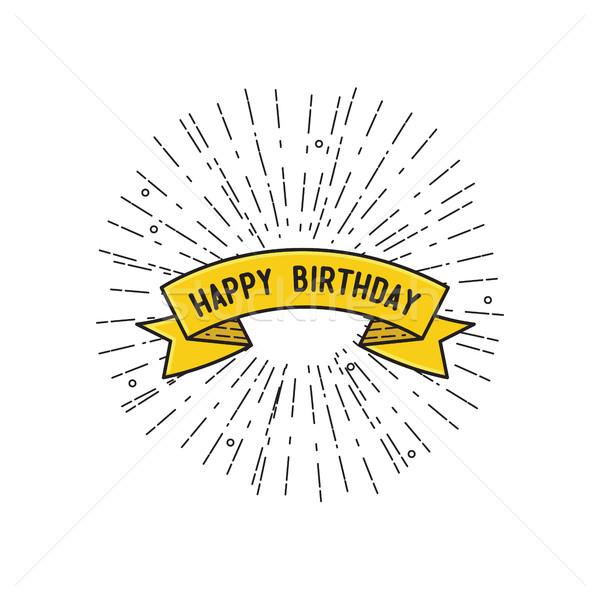 С Днем Рождения дизайна плакат тонкий линия баннер Сток-фото © softulka