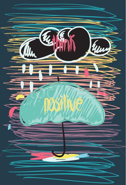 Düşünmek pozitif motivasyon poster ilham verici karalama Stok fotoğraf © softulka