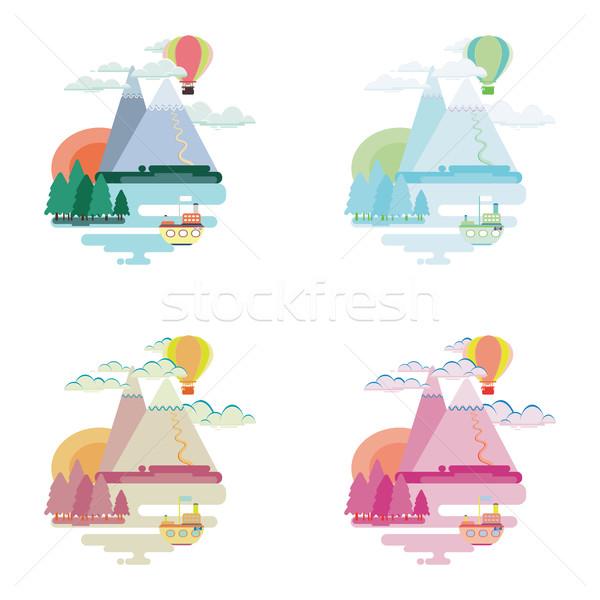 Сток-фото: набор · красочный · пейзаж · гор · шаре · судно