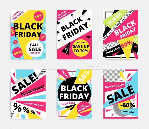 Satış afiş şablon dizayn black friday web sitesi Stok fotoğraf © softulka
