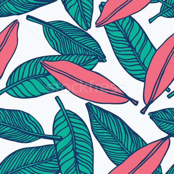 Végtelenített trópusi dzsungel virágmintás minta gyönyörű Stock fotó © softulka