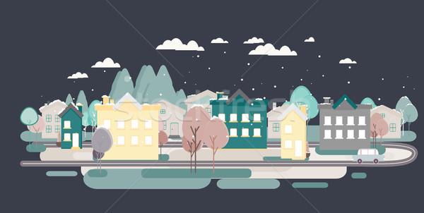 дизайна городского пейзаж иллюстрация дома цветок Сток-фото © softulka