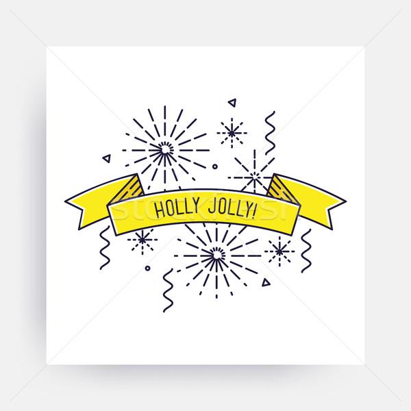 веселый Рождества с Новым годом Новый год дизайна линейный Сток-фото © softulka