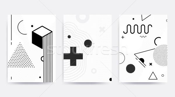 Siyah beyaz eğilim geometrik desen ayarlamak parlak bloklar Stok fotoğraf © softulka