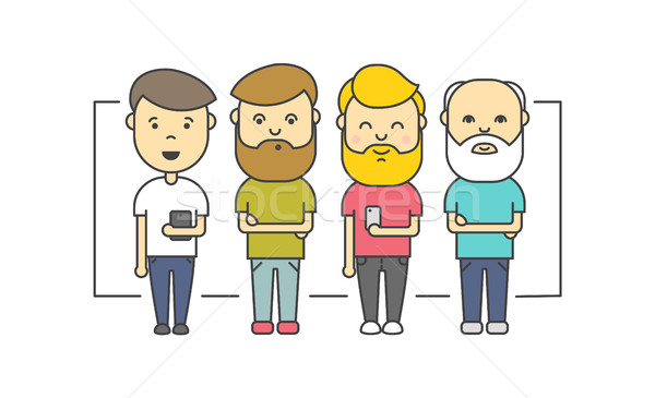 Isolated flat hipster men with beard using smartphone Stock photo © softulka