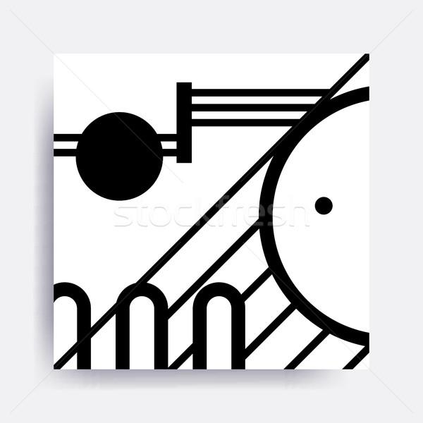 Feketefehér geometrikus minta kockák képek terv elemek Stock fotó © softulka