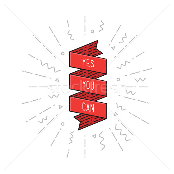 Stock photo: Yes you can. Inspirational vector illustration, motivational quotes flat poster