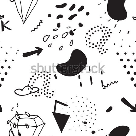 Simple seamless doodle pattern in kitsch, primitivism, minimal s Stock photo © softulka