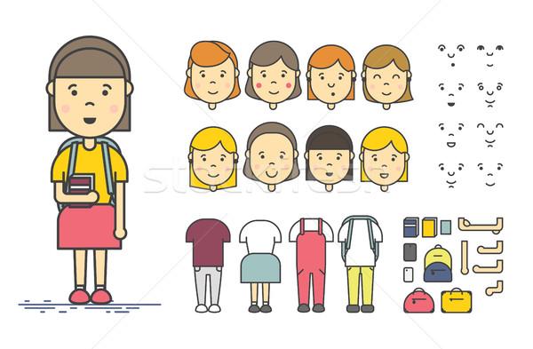 Kız karakter oluşturma ayarlamak renkli doğrusal Stok fotoğraf © softulka