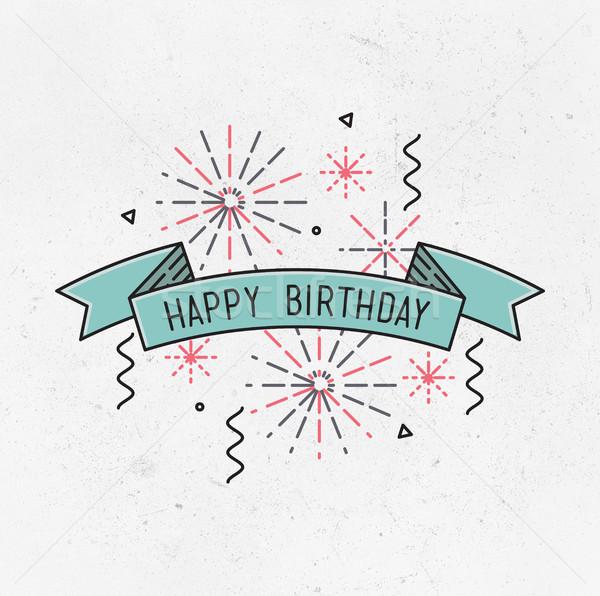 Happy birthday, flat design thin line banner Stock photo © softulka