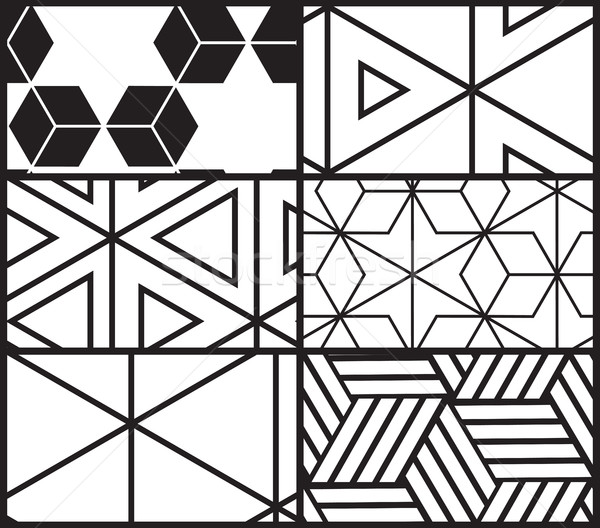 Stock photo: Set of universal vector geometric seamless pattern