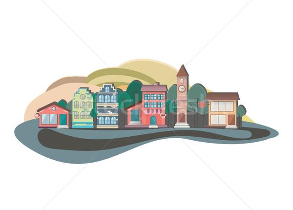 Renkli doğa dizayn manzara Cityscape kentsel Stok fotoğraf © softulka