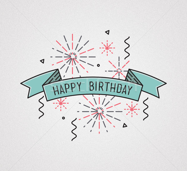 Mutlu yıllar dizayn ince hat afiş e-mail Stok fotoğraf © softulka