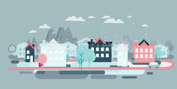 Flat design urban landscape illustration Stock photo © softulka