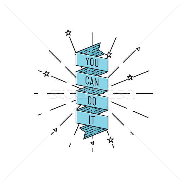Stock photo: You can do it. Inspirational vector illustration, motivational quotes flat