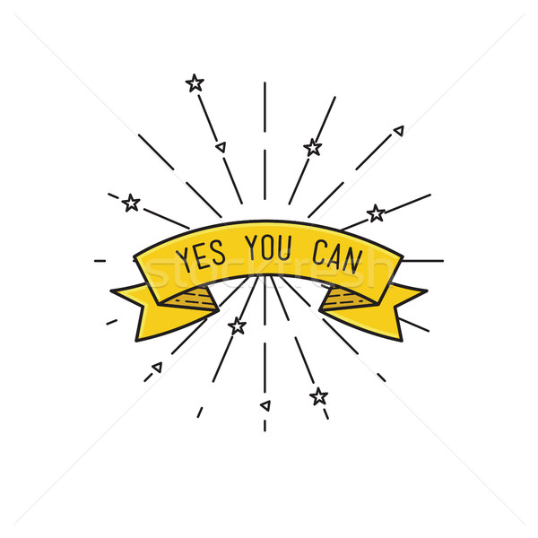 yes you can. Inspirational vector illustration, motivational quotes flat poster Stock photo © softulka