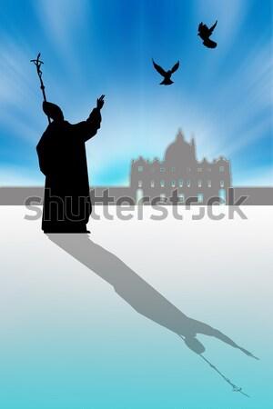 Pápa sziluett árnyék illusztráció kék templom Stock fotó © sognolucido