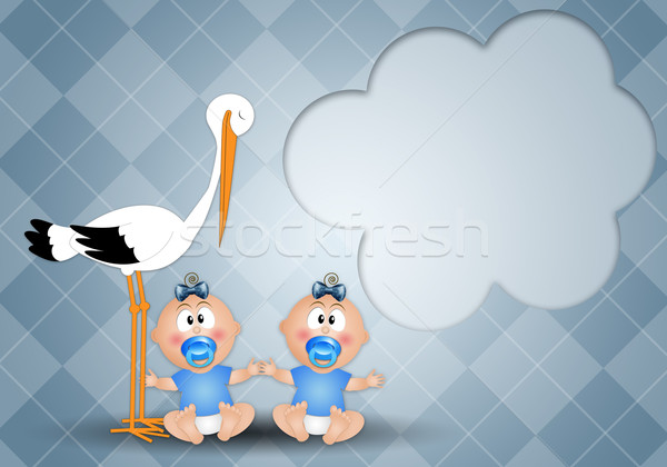 stork with twin boys Stock photo © sognolucido