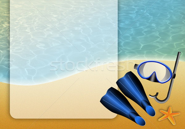 Diving mask on sand Stock photo © sognolucido