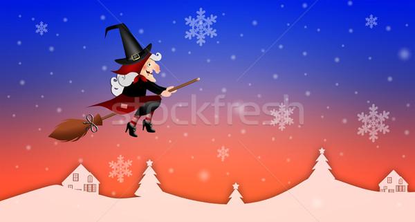 ストックフォト: 幸せ · 実例 · 魔女 · ほうき · パーティ · 休日