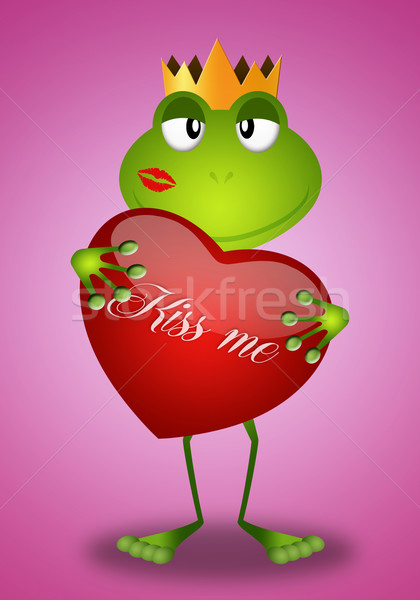 Funny frog with heart Stock photo © sognolucido