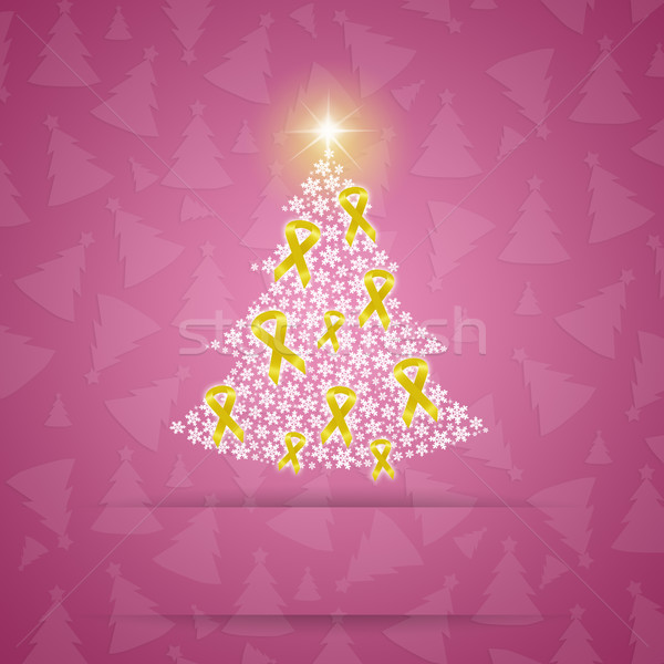 Christmas tree with yellow awareness ribbons Stock photo © sognolucido