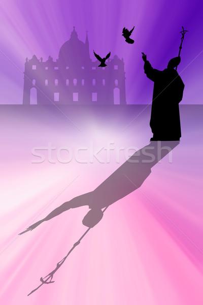 папа силуэта иллюстрация Церкви голубя молятся Сток-фото © sognolucido