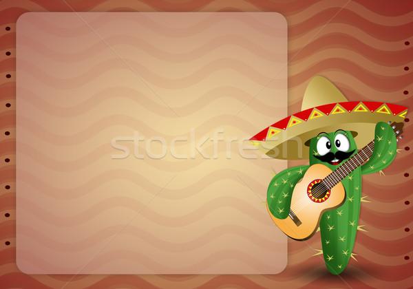 Kaktus sombrero gitara podróży wakacje turystyki Zdjęcia stock © sognolucido