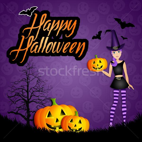 Stok fotoğraf: örnek · cadı · kabak · mutlu · halloween · şapka