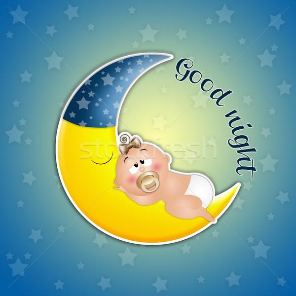 Alszik baba hold alszik éjszaka Stock fotó © sognolucido