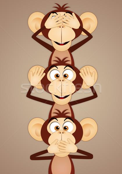 Trois judicieux singes drôle religion concept Photo stock © sognolucido