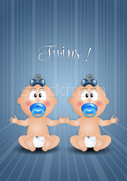 twin boys on blue background Stock photo © sognolucido