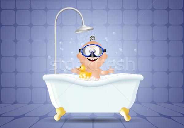 Baby kąpieli nurkowania maska łazienka Zdjęcia stock © sognolucido