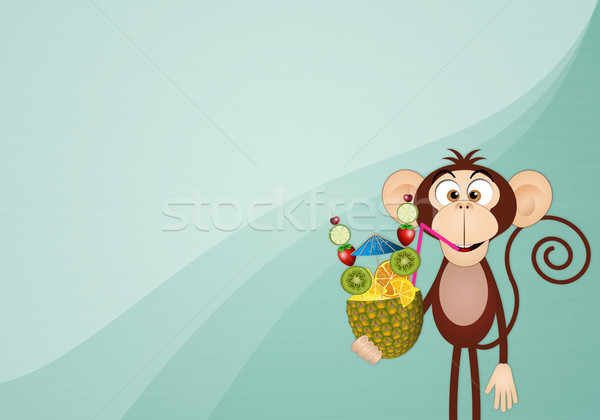 Monkey with pineapple background Stock photo © sognolucido