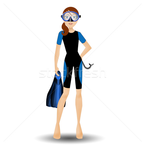 Woman with diving equipment Stock photo © sognolucido