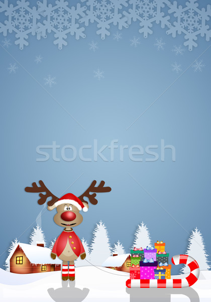 Drôle rennes slide Noël carte cartoon Photo stock © sognolucido
