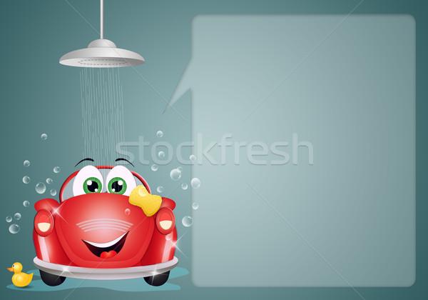 смешные автомойку иллюстрация автомобилей стиральные воды Сток-фото © sognolucido