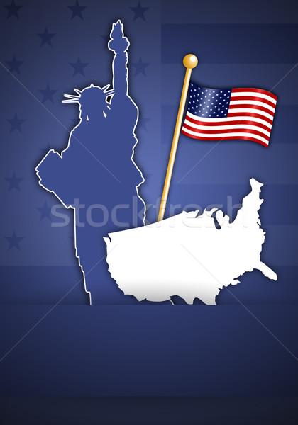 Stok fotoğraf: Heykel · özgürlük · amerikan · bayrağı · örnek · mavi · bayrak