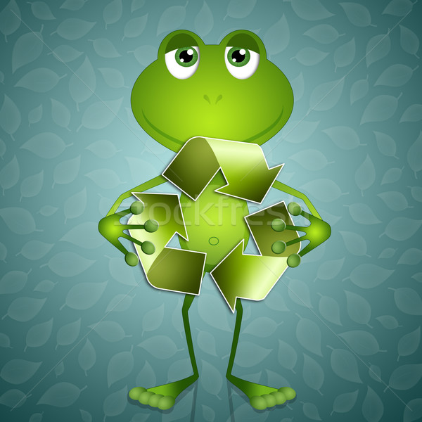 Funny frog with recycle symbol Stock photo © sognolucido