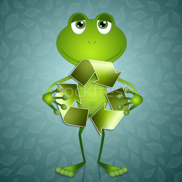 Komik kurbağa geri dönüşüm simge örnek dünya Stok fotoğraf © sognolucido