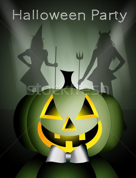 Glücklich Halloween Illustration Party Maske hat Stock foto © sognolucido