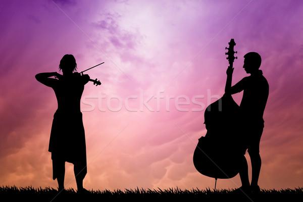 Stock fotó: Zenészek · naplemente · illusztráció · sziluett · természet · jókedv