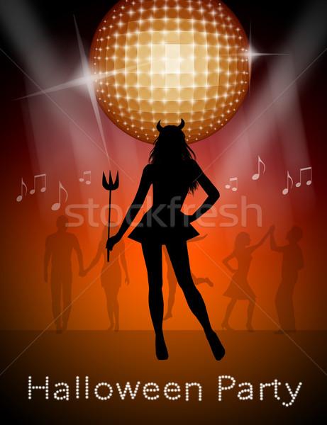 Glücklich Halloween Illustration Party Frau Silhouette Stock foto © sognolucido