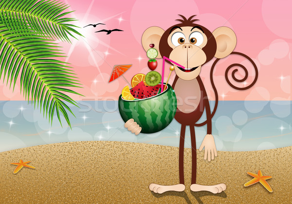 Monkey with watermelon cocktail Stock photo © sognolucido