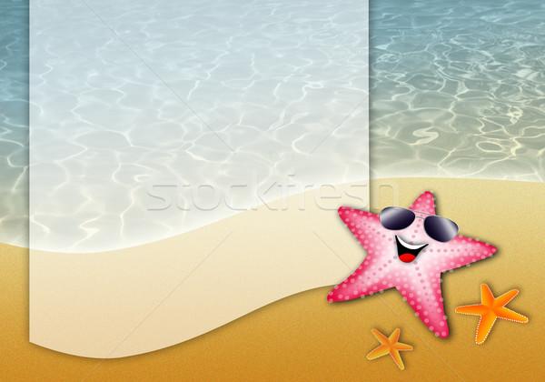 Starfish пляж иллюстрация воды морем лет Сток-фото © sognolucido