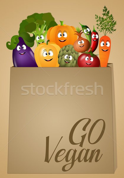 Vegan food with funny vegetables Stock photo © sognolucido