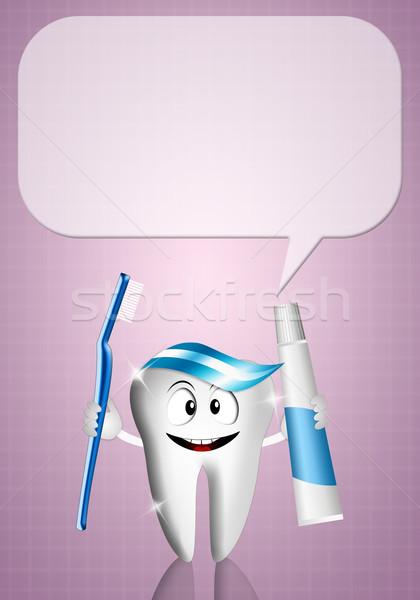 Opieka stomatologiczna ilustracja zębów pasta do zębów szczoteczka uśmiech Zdjęcia stock © sognolucido