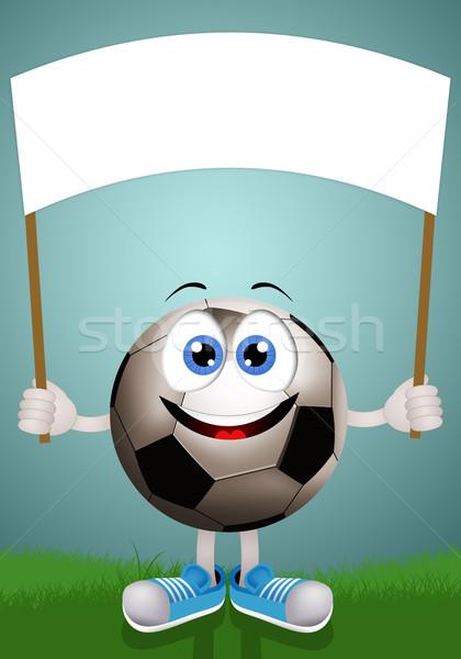 футбольным мячом знак иллюстрация лице футбола спортивных Сток-фото © sognolucido