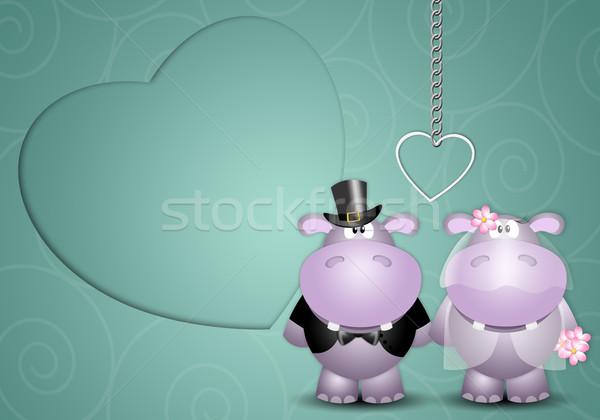 Friss házasok illusztráció pár esküvő szeretet házas Stock fotó © sognolucido